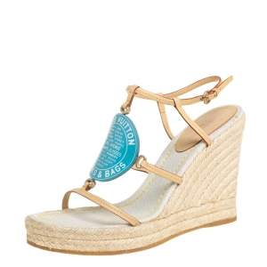 Louis Vuitton Beige And Blue Vachetta Leather Divine Trunks And Bags Espadrille Wedge Sandals Size 38