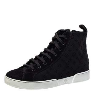 Louis Vuitton Black Suede And Monogram Embossed Neoprene Stellar High Top Sneakers Size 36.5