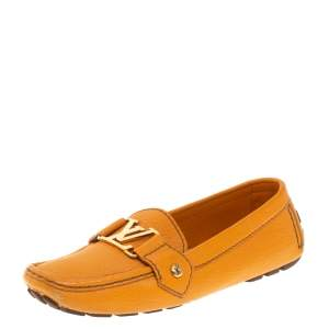 Louis Vuitton Orange Leather Logo Embellished Driving Loafer Size 35.5