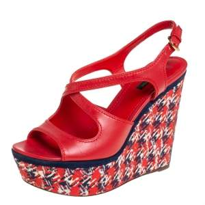 Louis Vuitton Red Leather And Multicolor Fabric Wedge Criss Cross Platform Slingback Sandals Size 39.5