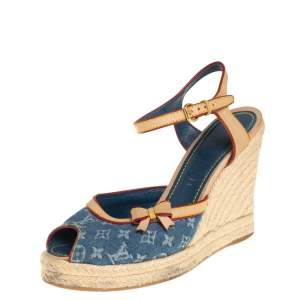 Louis Vuitton Blue/Beige Monogram Denim And Leather Trim Bow Wedge Espadrilles Size 39