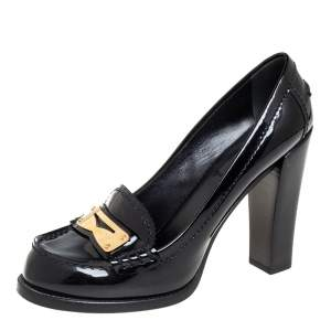 Louis Vuitton Black Patent Leather Loafer Pumps Size 37.5