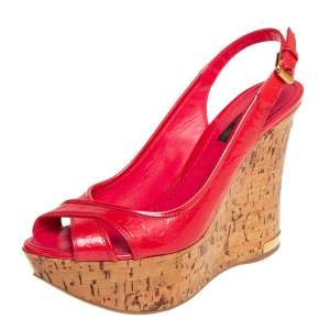 Louis Vuitton Red Monogram Vernis Pantheon Sandals Size 37