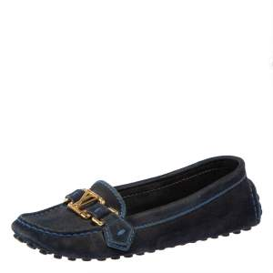Louis Vuitton Blue Suede Logo Slip On Loafers Size 36.5
