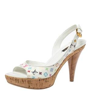 Louis Vuitton White Monogram Canvas Platform Sandals Size 39.5