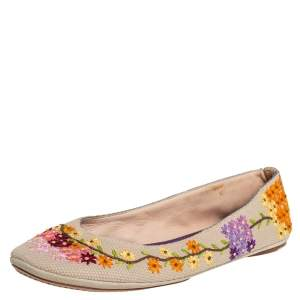 Louis Vuitton Multicolor Floral Embroidered Canvas Ballet Flats Size 41