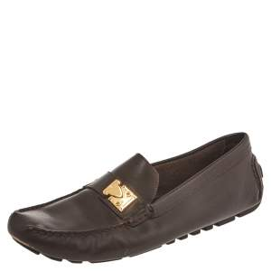 Louis Vuitton Dark Brown Leather Lombok Slip On Loafers Size 41