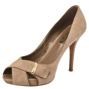 Louis Vuitton Brown Suede Crisscross Pumps Size 36