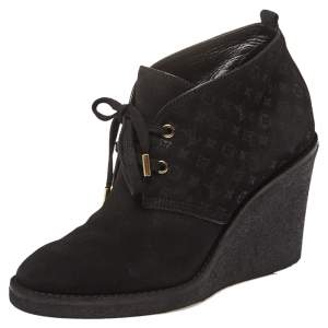Louis Vuitton Black Suede Monogram  Ankle Boot Size 39