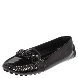 حذاء لوفرز لوي فيتون سليب أون جلد لامع أسود مقاس 35