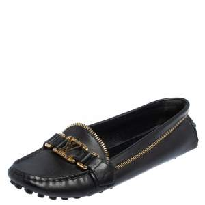 Louis Vuitton Black Leather Oxford Zip Loafers Size 37