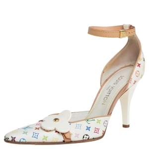 Louis Vuitton White Canvas Multicolore Monogram Sandals Size 38.5