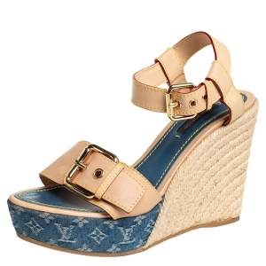 Louis Vuitton Beige Monogram Denim & Leather Espadrilles Wedge Sandals Size 37.5