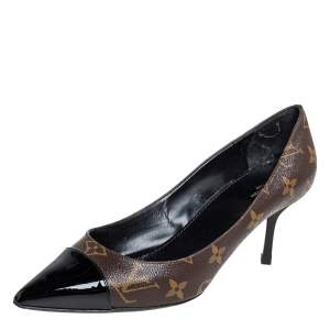 Louis Vuitton Brown Monogram Canvas And Patent Leather Cap Toe Fetish Pointed Toe Pumps Size 38.5