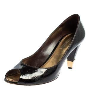 Louis Vuitton Black Monogram Vernis No Doubt Pumps Size 38.5