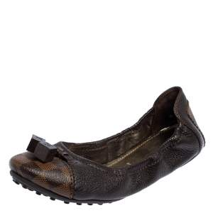 Louis Vuitton Brown Leather And Damier Ebene Lovely Ballet Flats Size 38.5