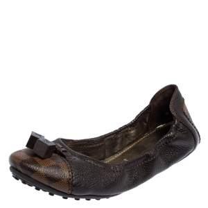 حذاء باليرينا فلات لوي فيتون جلد بني ودامييه إيبين مقاس 38.5