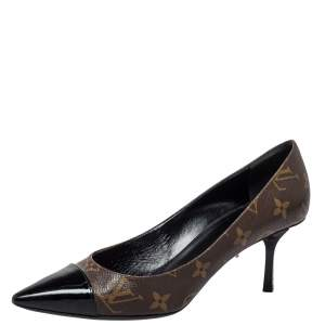 Louis Vuitton Brown/Black Monogram Canvas And Leather Cap Toe Fetish Pointed Toe Pumps Size 37