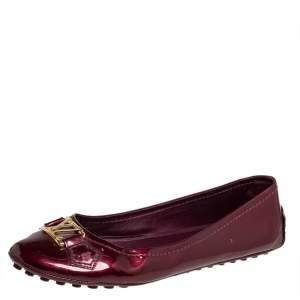 Louis Vuitton Burgundy Vernis Oxford Ballerina Flats Size 38