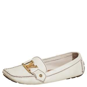 Louis Vuitton Off White Leather Monte Carlo Loafers Size 37
