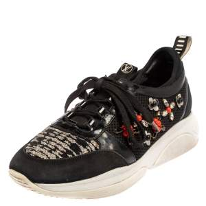 Louis Vuitton Black Patent Leather And Mesh Crystal Embellished Low Top Sneakers Size 37