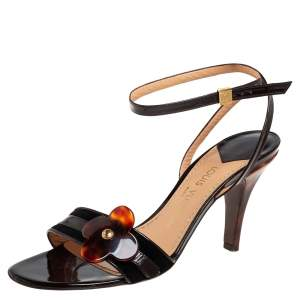 Louis Vuitton Patent Leather And Suede Flower Ankle Strap Sandals Size 39