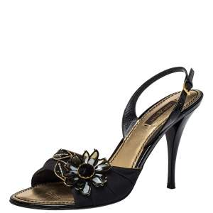 Louis Vuitton Black Nylon And Patent Leather Slingback  Sandals Size 40
