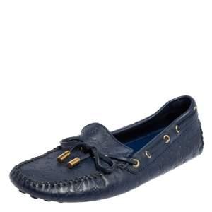 Louis Vuitton Brue Monogram Empreinte Leather Gloria Slip On Loafers Size 38.5