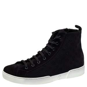 Louis Vuitton Black Monogram Suede High Top Sneakers Size 39