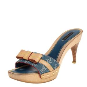 Louis Vuitton Blue Monogram Denim and Leather Bow Detail Slides Sandals Size 39.5