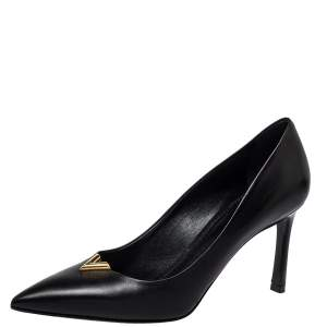 Louis Vuitton Black Leather Heartbreaker Pointed Toe Pumps Size 38.5