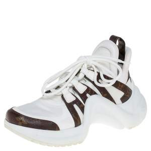 Louis Vuitton White/Brown Leather And Monogram Canvas Archlight Sneakers Size 37