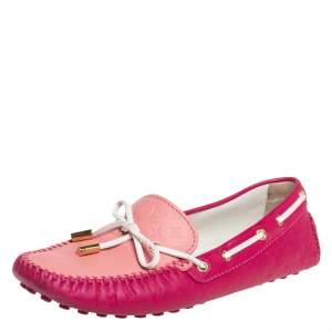 Louis Vuitton Pink Leather Gloria Loafers Size 38