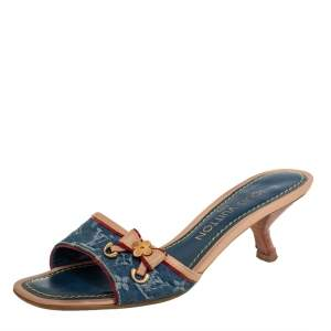 Louis Vuitton Blue Monogram Denim Kitten Heel Bow Slide Sandals Size 35