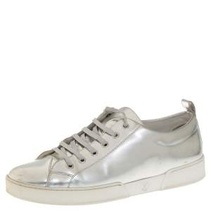 Louis Vuitton Silver Leather Low Top Sneakers Size 40