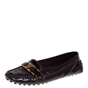 Louis Vuitton Burgundy Patent Leather Oxford Loafers Size 37.5