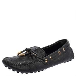 Louis Vuitton Black Monogram Empreinte Leather Gloria Slip On Loafers Size 34.5