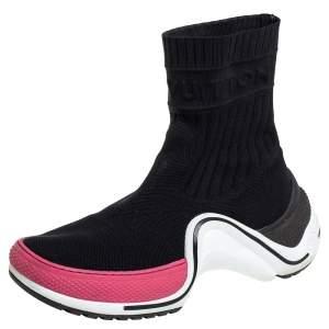 حذاء بوت رياضي لوي فيتون قماش تريكو أسود أرش لايت بعنق مرتفع مقاس 38