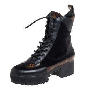 Louis Vuitton Black/Brown Monogram Canvas And Suede Laureate Platform Desert Ankle Boots Size 38
