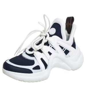 حذاء رياضي لوي فيتون منخفض من أعلى أرشلايت جلد وشبك أبيض/ كحلي مقاس 38