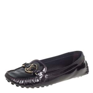 Louis Vuitton Burgundy Patent Leather Dauphine Loafers Size 40.5