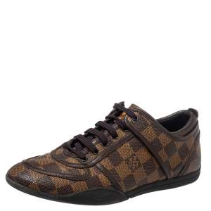 Louis Vuitton Damier Ebene Coated Canvas and Leather Low Top Sneakers Size 37.5
