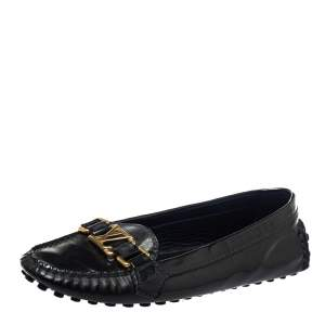 Louis Vuitton Black Patent Leather Oxford Loafers Size 37
