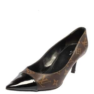 Louis Vuitton Black Monogram Canvas Cap Pointed Toe Pumps Size 39