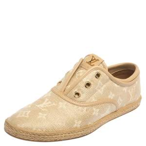 Louis Vuitton Beige Monogram Canvas and Raffia Popincourt Espadrille Sneakers Size 38.5