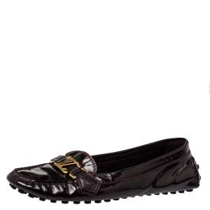 Louis Vuitton Burgundy Patent Leather Loafers Size 40.5
