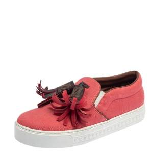 Louis Vuitton Coral Red Canvas and Monogram Canvas Tassel Destination Slip On Sneakers Size 36.5