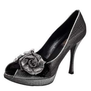 Louis Vuitton Ombre Black/Silver Shimmery Lurex Fabric Floral Embellished Peep Toe Pumps Size 37.5