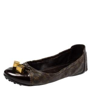 Louis Vuitton Brown Monogram Canvas And Leather Cap Toe Lovely Scrunch Ballet Flats Size 36