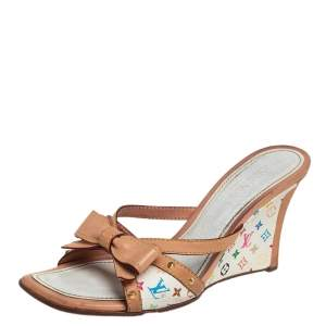Louis Vuitton Multicolor Monogram Canvas And Leather Bow Wedge Sandals Size 38.5